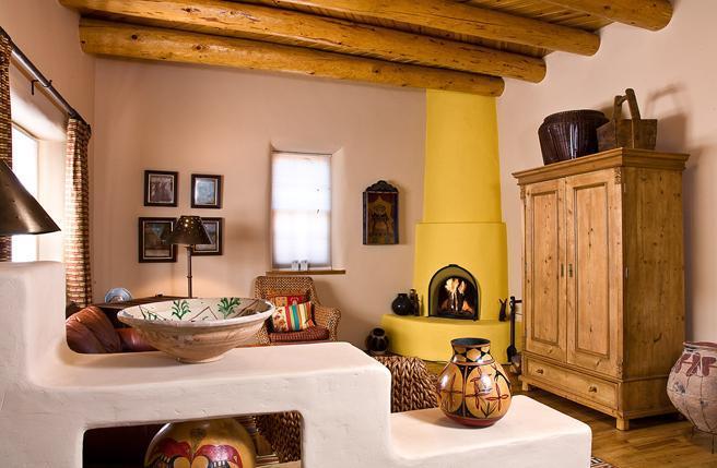 Living room with kiva fireplace - San Francisco Street Casa - Santa Fe - rentals