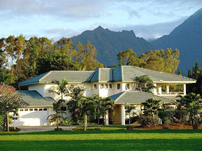 Front of Home - Rainbows, Waterfalls, Sunset Views.  Pool & Tennis - Princeville - rentals