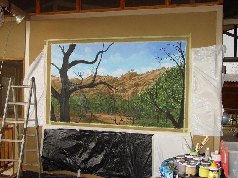 Dining room mural by local artist - Luxury Costa Rica Jungle Tree House by Playa Negra - Paraiso - rentals