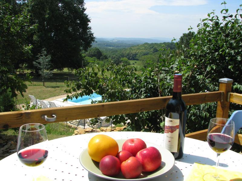 Le Fournil terrace and view - Sarlat, Le Fournil, cottage, pool, views, Dordogne - Sarlat-la-Canéda - rentals