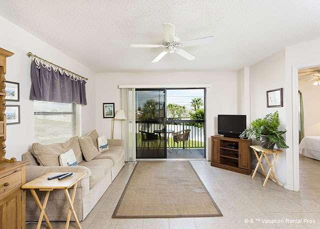 Sit back and relax in our utlra-comfy living room! - Ocean Village i21, 2nd Floor unit, Elevator, 2 pools tennis - Saint Augustine - rentals