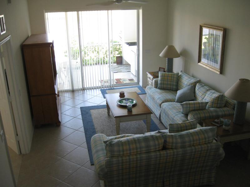 Luxuriously comfortable living room with flat screen LCD and extra deep couches - Rent a New Condo in Beautiful Falling Waters - Naples - rentals