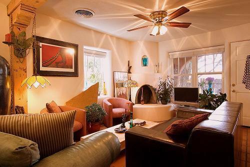 Den with Fireplace - Casas de Guadalupe - Casita A - Santa Fe - rentals