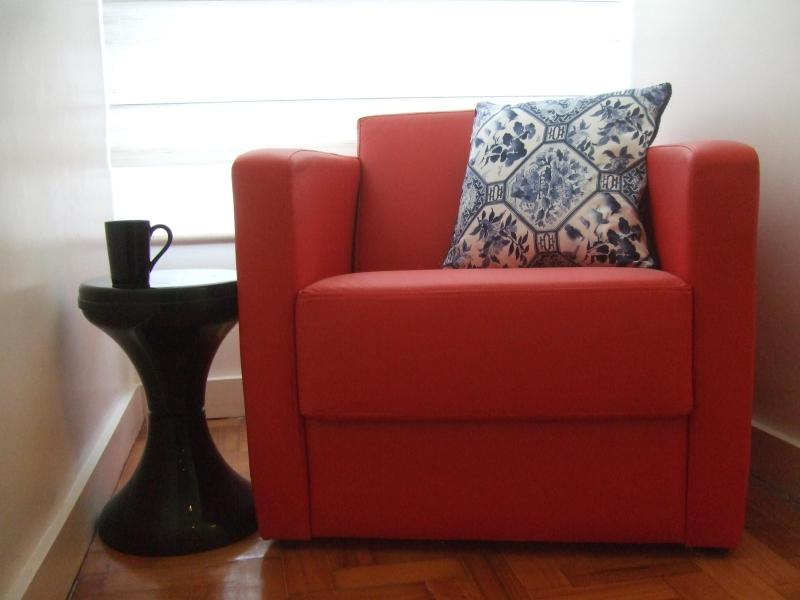 red occasional chair: coffee nook - *Award Winner* Ipanema Designer 1 Bedroom - Rio de Janeiro - rentals