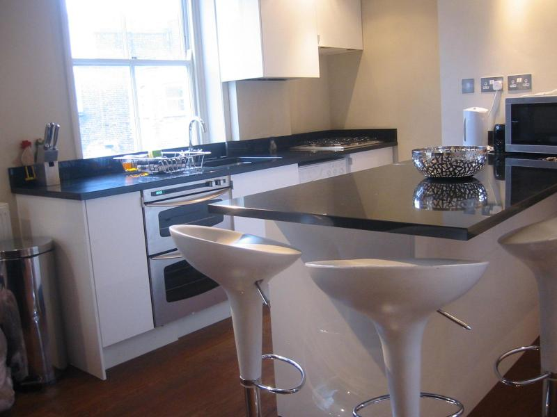 New, modern kitchen with breakfast bar - Homely Central London Apartment, Nr Oxford Street - London - rentals