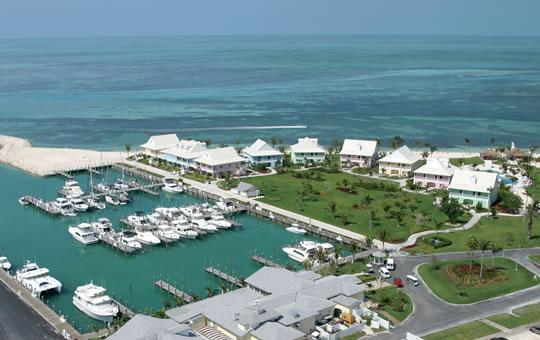 Aerial view of resort and marina with our cottage in the middle - Luxury Beachfront Suites (3) at Old Bahama Bay - Grand Bahama - rentals