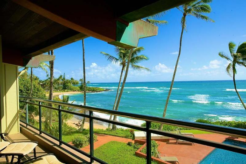 Ocean View from Covered Lanai - Hale Awapuhi Villa 2F - Ocean Front Condo, Wailua - Kapaa - rentals