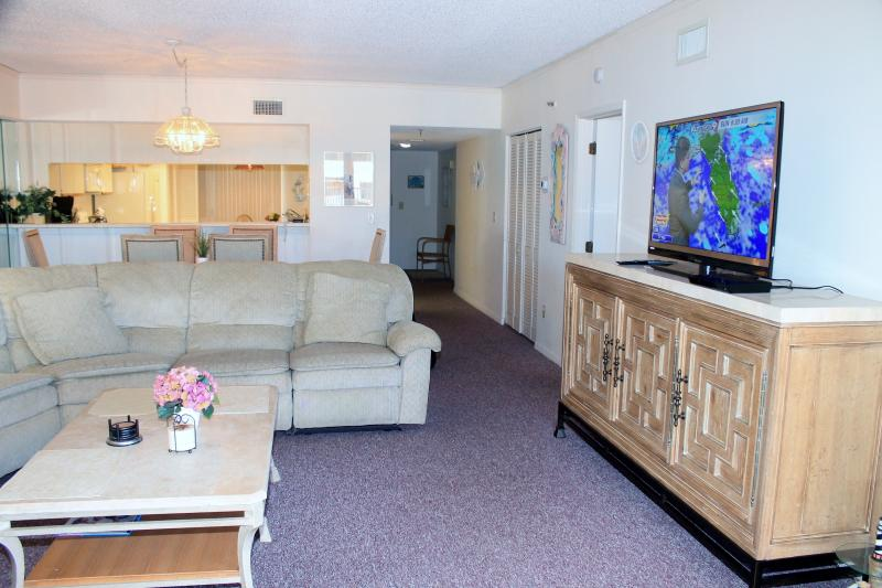 Living Room - WIFI - HDTV - Large Thomasville Sofa - Stunning Ocean View Condo!  Flat Screen TV, WiFi - Indian Shores - rentals