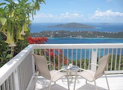 deck with Angel Trumpets in bloom - Million Dollar View - Saint Thomas - rentals