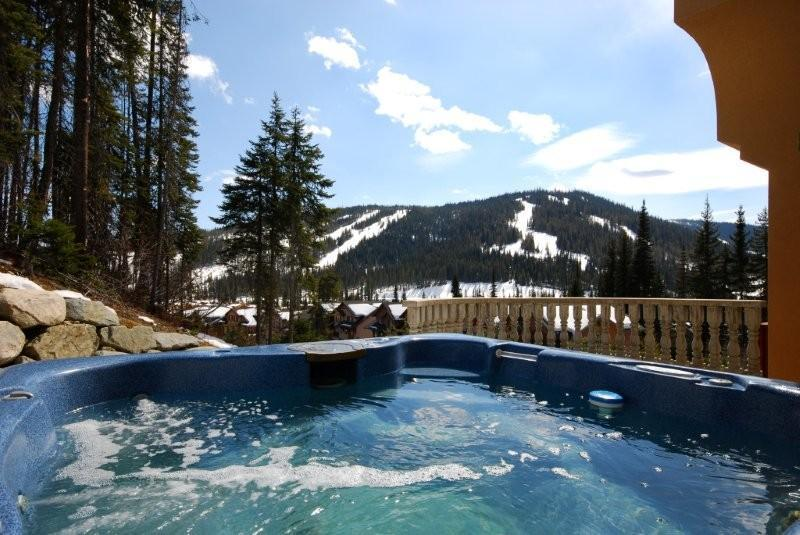 The hot tub has an outstanding view of Mt. Morrissey - Dave & Karen's Mountain Home at #7 Powder Ridge - Sun Peaks - rentals