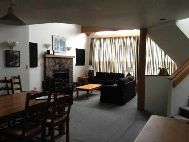 Open plan Living and Dining area with real fireplace - Paul and Corinne Varty - Whistler - rentals
