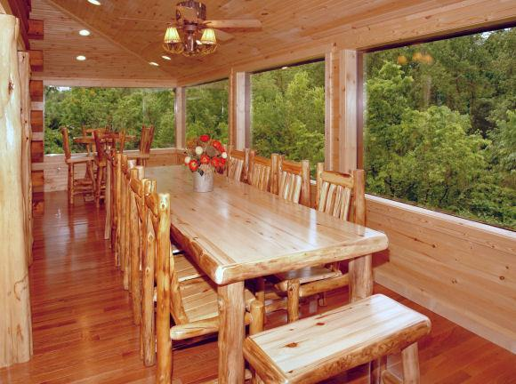 dining on glassed in porch - FAMILY REUNIONS, CHURCH RETREATS, WEDDINGS ETC.! - Sevierville - rentals