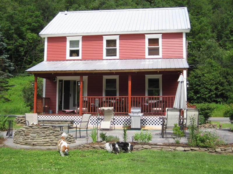 Back of Red House - The Red House: A Beautiful Home with Trout Stream - Starlight - rentals