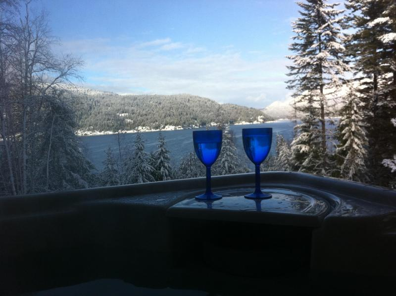 View from covered hot-tub, Kootenay Lake - Raspberry Hill,  sauna , hot-tub , with lake view - Nelson - rentals