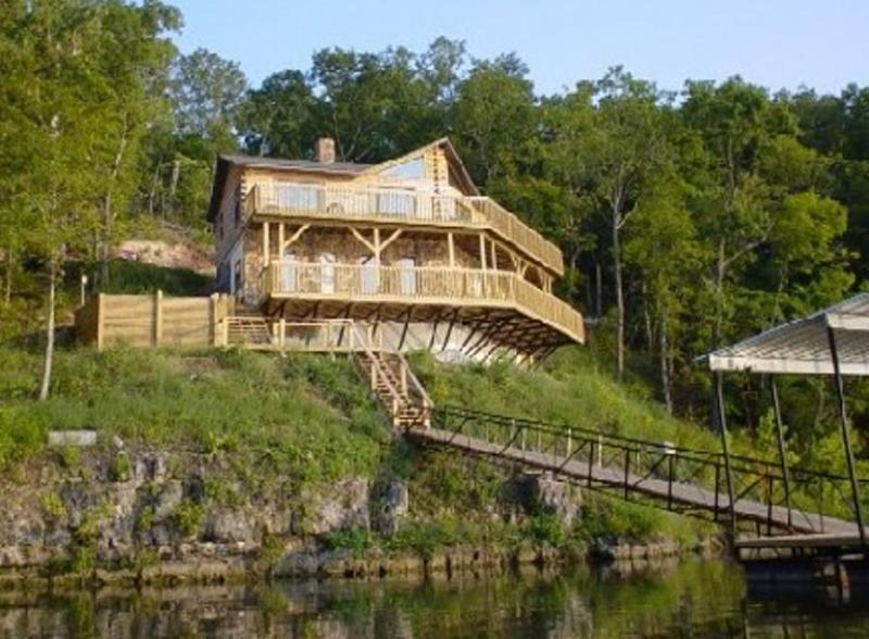 View of Home from the Lake! - Poco Risco's Lakefront Log Home Rental - Lake of the Ozarks - rentals