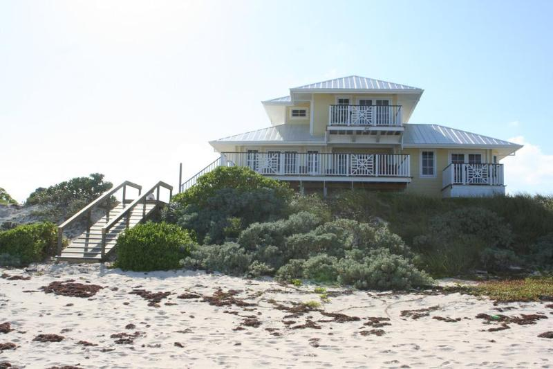 Beachside view of home - NEW LUXURY OCEANFRONT HOME - PRIVATE BEACH & DOCK - Hope Town - rentals