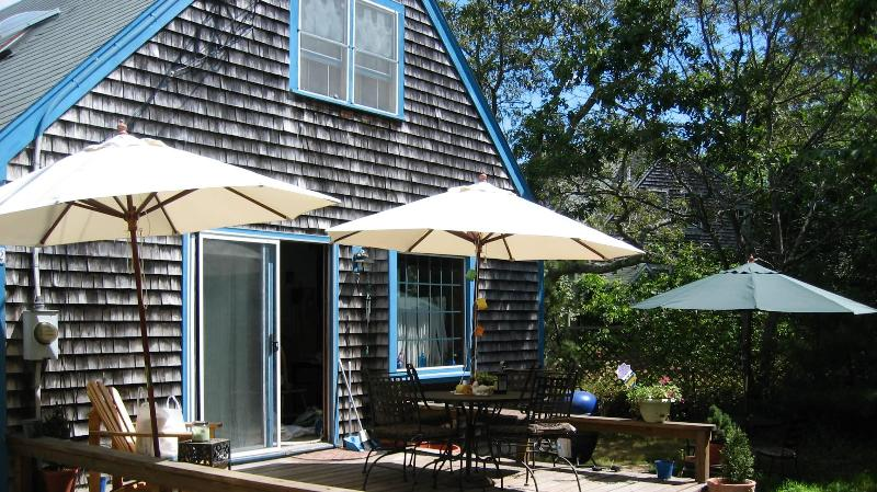 Deck with Umbrellas and Summer Furniiture - Summer Vacation Rental - Oak Bluffs - rentals