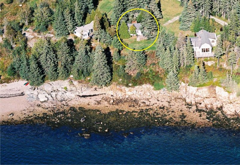 Pinelodge aerial from the bay, note the cottage inside the yellow circle. - Pinelodge at Seaside Cottages, Mt. Desert, Acadia - Mount Desert - rentals