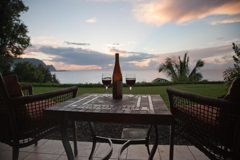 sunset on the lanai - Stunning Oceanfront 'Bali Hai' 1 BR Pali Ke Kua - Princeville - rentals