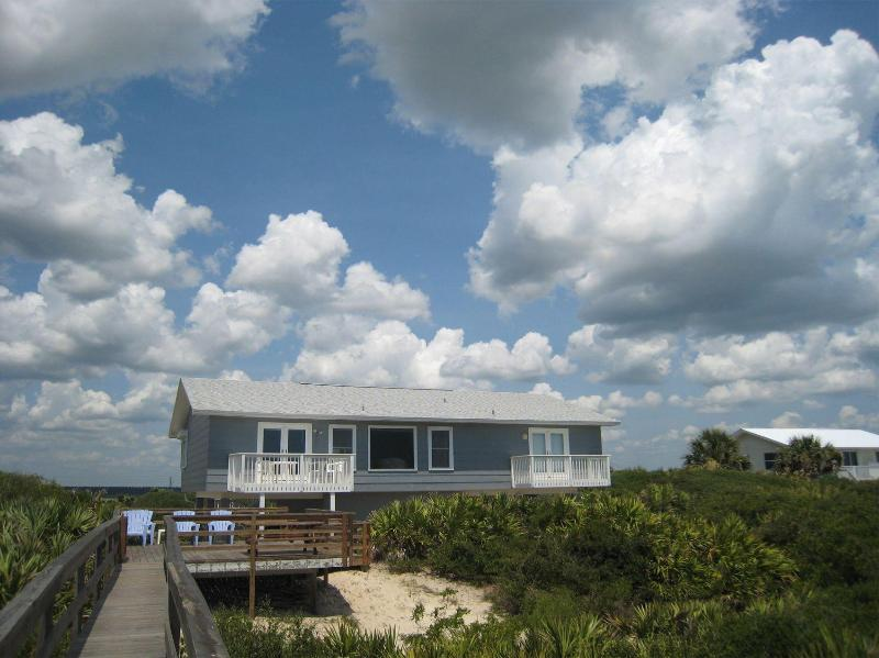 Exterior view from the boardwalk to the beach - Solstice Beach Front House Crescent -St. Augustine - Saint Augustine Beach - rentals