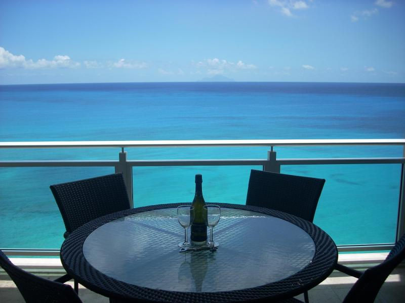 Panoramic View of Caribbean Sea from Main Balcony - The Cliff 5th Floor - Lowest Cost/ Best Value - Cupecoy Bay - rentals