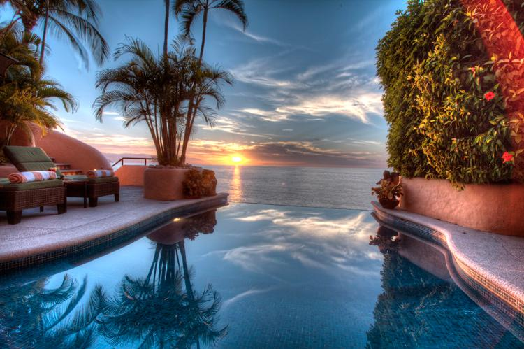 Infinity pool at Sunset - Villa Azul Celeste Stunning Beachfront Villa - Puerto Vallarta - rentals