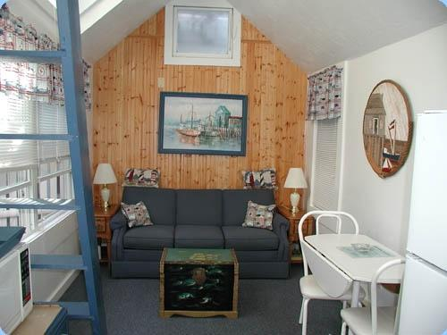Pullout couch in living room - Unit # 7 Duplex with Loft Bedroom/Garden Patio - Provincetown - rentals