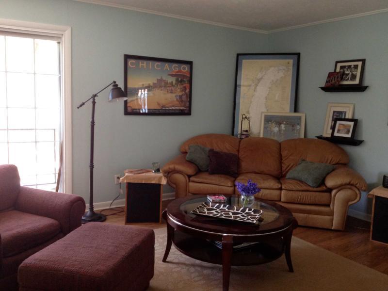 Living room, great stereo for music lovers - Get Away to Harbor Co, MI - Walk to Dunes - Sawyer - rentals
