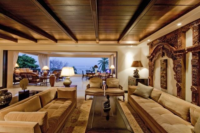 Living Room looking So to Patio - On the Beach • Full-Time Cook • AD Interiors - Punta de Mita - rentals