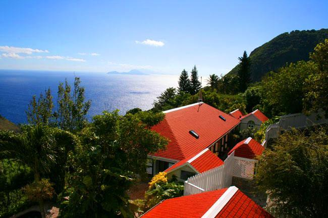 View over roofs to ocean - Saba's finest ocean villa, steps from the village - Windwardside - rentals