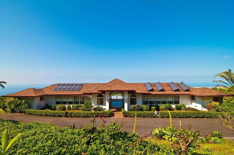 Villa from the East with new roof, solar array and solar hot water. - Kona View Estate - Holualoa - rentals
