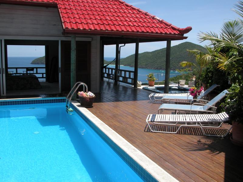 Pool Deck & Master Suite - Magic Castle  2 BR Villa above  Little Bay Beach - Tortola - rentals