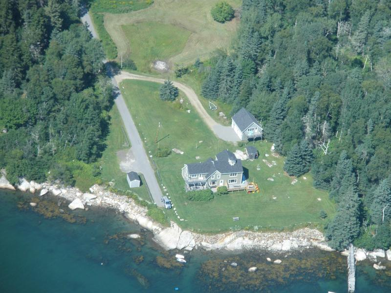 Aerial view summer 2010 - Harcliff-Oceanfront property on Penobscot Bay - Owls Head - rentals