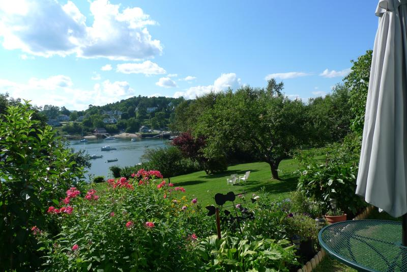 Lawn and garden viewed from the house - The Old Community House on Rockport Harbor w dock - Rockport - rentals