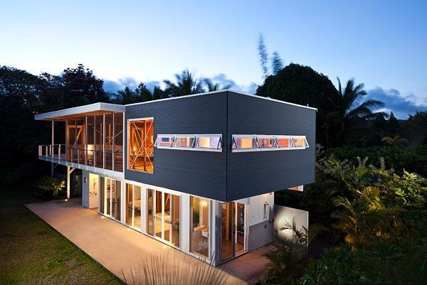 Hale 'Ohai at dusk - Modern architectural gem on Hawaii's Puna coast - Pahoa - rentals