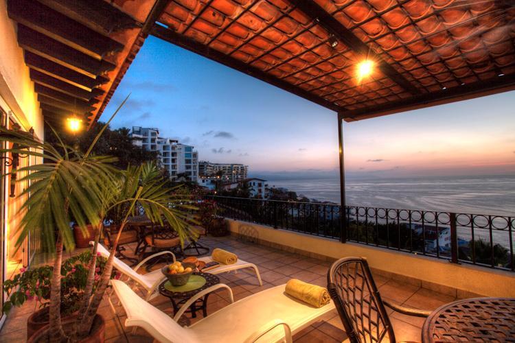 Terrace at sunset. - Penthouse Above Los Muertos Beach, Ocean Views - Puerto Vallarta - rentals
