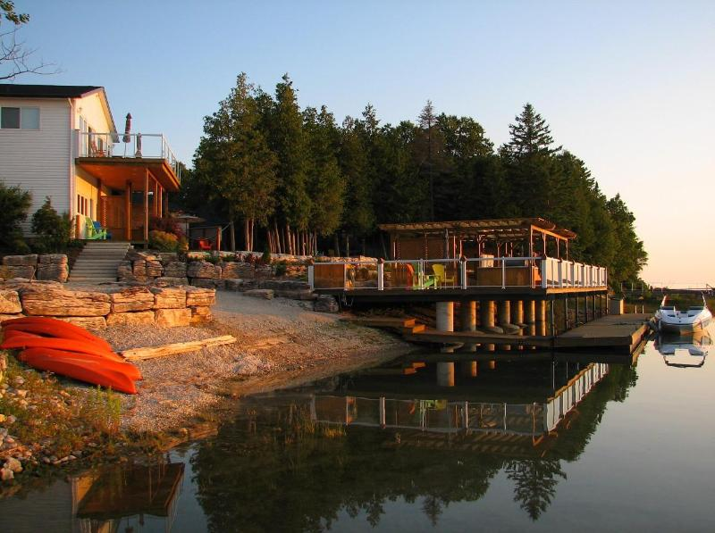 Sunset at Mac's Shacks, Dock with Hot tub - Mac's Shacks Waterfront Cottages - The Huron - Lion's Head - rentals