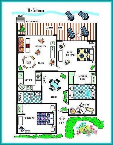 2 BR Floor Plan - BEACHSIDE VILLAS...secluded Beachfront hideaway... perfect get-away! - Saint Martin-Sint Maarten - rentals