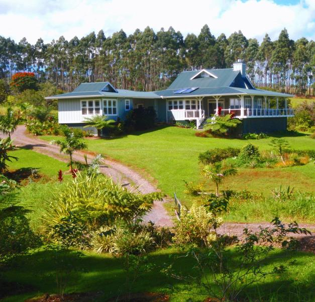 Kapehu Retreat House from private access road - Elegant luxury home, 20 ac, ocean view - Hilo - rentals