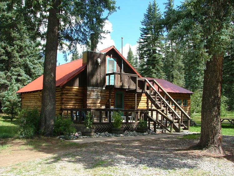 Rustic Log Exterior and with Outside Staircase to Upstairs Bedroom - The Lazy Time @ Vallecito Lake, Colorado - Vallecito Lake - rentals