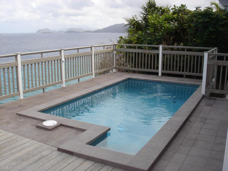 View of Pool Looking Down Island Towards St. John - Casa Azure, Check out our video tour!! Waterfront! - East End - rentals