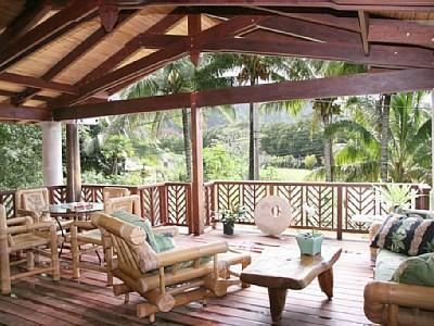 Outdoor covered lanai (porch) - Outdoor living at it's finest with BBQ grill - Modern Hawaiian Beach Villa- short stroll to beach - Haena - rentals