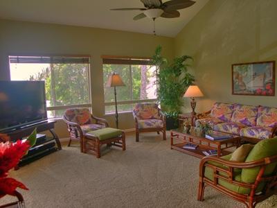 Large open Living Area, flat screen TV - Hale Kipa ~ 3 Bedroom Condo in Poipu - Poipu - rentals