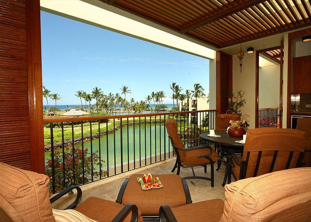 Covered lanai for relaxing - FALL SPECIAL 5TH NIGHT FREE-Top Floor Luxury Penthouse, Oceanview! - Mauna Lani - rentals