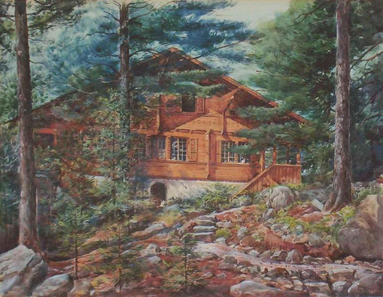 Watercolor of the Nine-Bedroom Chalet of the Bears, Brought from Switzerland in 1929. - Chalet of the Bears Studio Apt wi Ocean Beach - Bar Harbor - rentals