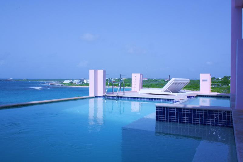 "Lounge by the Main Level Pool overlooking Caribbean Sea - Luxury Ultimate Entertainment Villa ""B on the Sea"" - Anguilla - rentals"