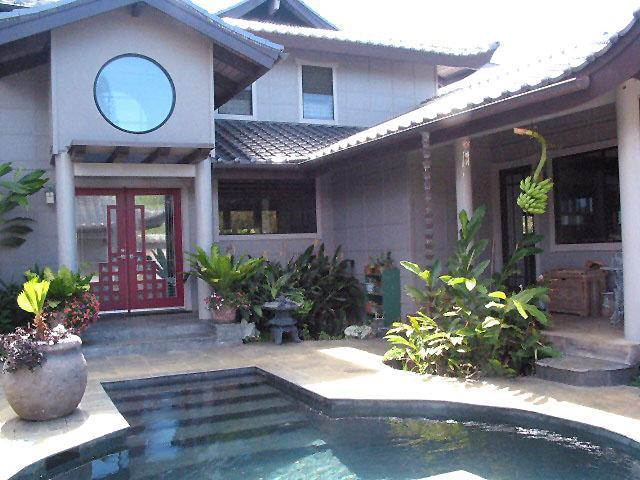 Entry to private courtyard w/ pool + hot tub - Asia House, Kauai, Hawaii - Princeville - rentals