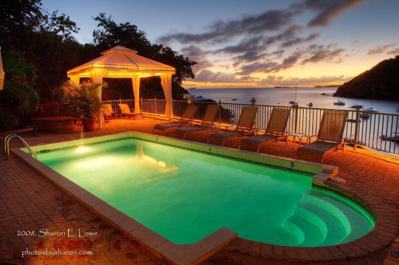 View of the pool at night - Beachfront Villa St John Chocolate Hole - Saint John - rentals