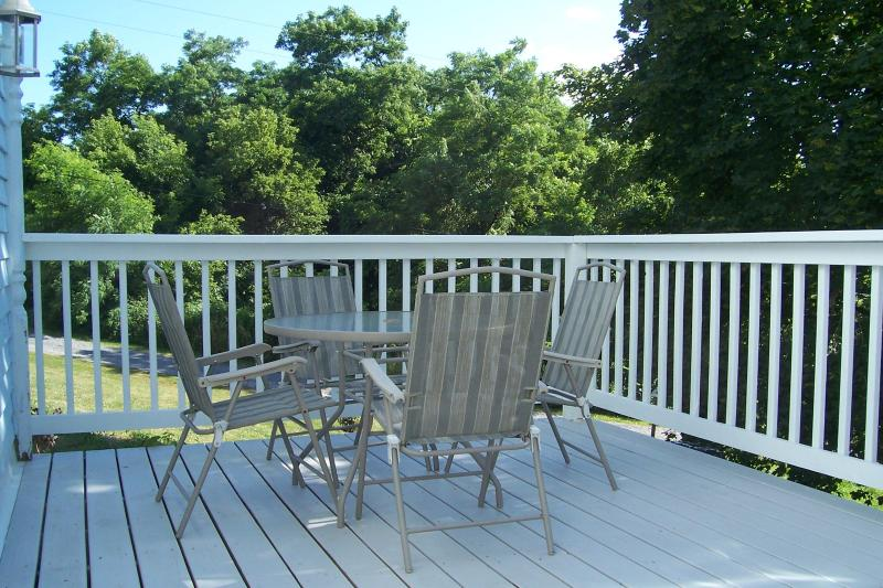 balcony off living room, a great place to sip your favorite beverage in the evening - THE BELLA VISTA GUEST HOUSE - Home Away From Home - Watkins Glen - rentals