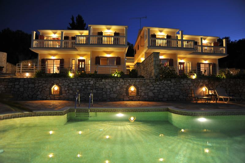 Villa Avgerini at night - Villa Avgerini Paradise overlooking the Ionian sea - Gaios - rentals